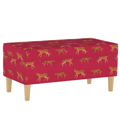 Storage Bench Cheetah Walk Raspberry - Cloth & Company - image 1 of 4