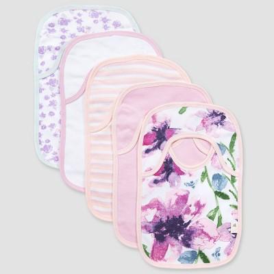 Burt's Bees Baby® Girls' 5pk Watercolor Daylily Bib - Purple