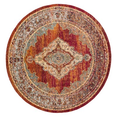 7'x7' Medallion Loomed Round Area Rug Orange/Light Blue - Safavieh