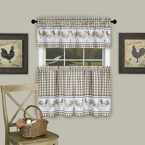 GoodGram Plaid Rooster Kitchen Curtain Tier & Valance Set - image 1 of 1