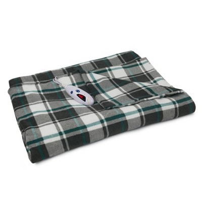 "72"" x 50"" Extra Long Microplush Electric Throw Blanket Gray/White & Teal Blue Plaid - Biddeford Blankets"