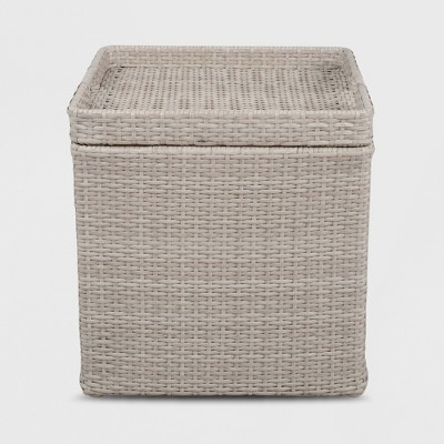 Wicker Storage Patio Accent Table Gray - Threshold™