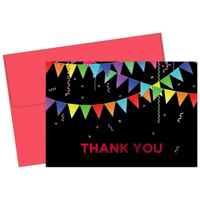 50ct Rainbow Pennant Red Foil Thank You Note Card & Envelopes