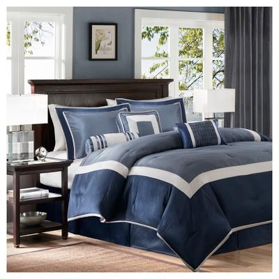 Navy Beverly Polyoni Comforter Set King 7pc 7pc