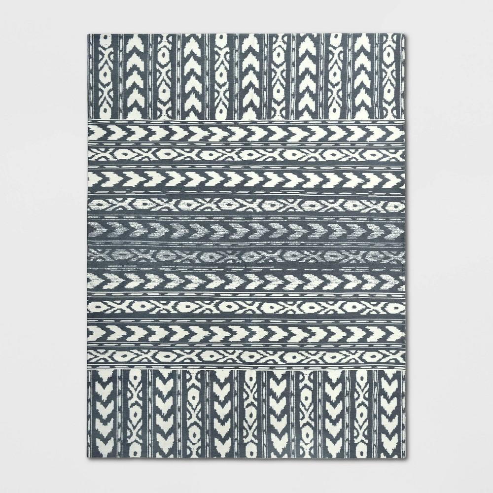9'X12' Indoor/Outdoor Geometric Woven Area Rug Gray - Threshold, Blue