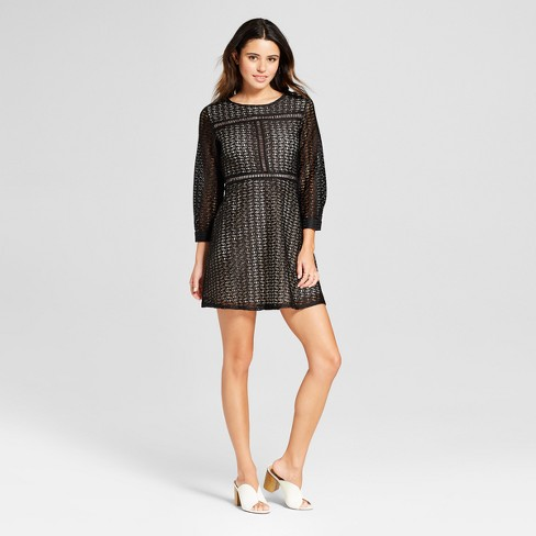 15043ee2158 Women s Short Sleeve Lace Fit   Flare Dress - Eclair Black S   Target