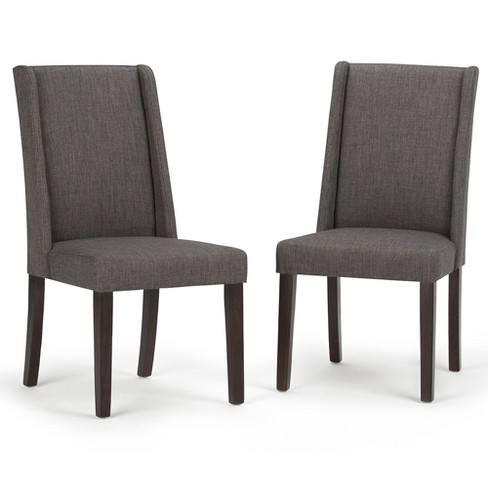 Sotherby Upholstered Linen Look Deluxe Dining Chair - Slate Grey (Set of 2) - Simpli Home - image 1 of 7