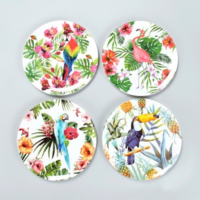 Lakeside Tropical Bird Motif Melamine Dinner Plates with Floral Accents - Set of 4