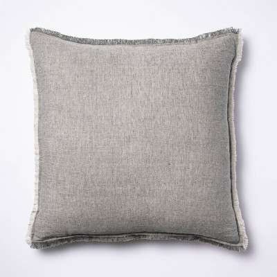 Oversized Square Linen Throw Pillow with Contrast Frayed Edges Gray/Cream - Threshold™ designed with Studio McGee