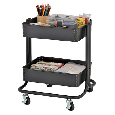ECR4Kids 2-Tier Metal Rolling Utility Cart - Mobile Storage Organizer