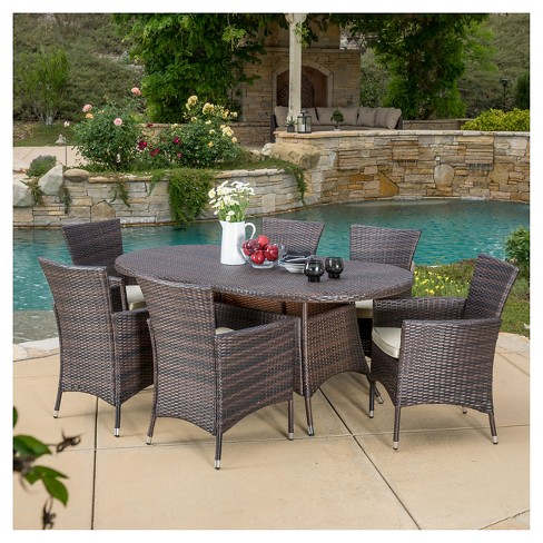 Dana 7pc Wicker Dining Set - Multibrown - Christopher Knight Home - image 1 of 4