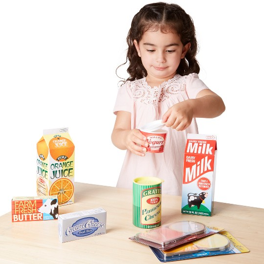 Melissa & Doug Fridge Groceries Play Food Cartons (8pc) - Toy Kitchen Accessories image number null