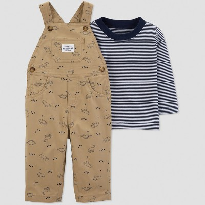 Baby Boys' 2pc Dino Overall Set - Just One You® made by carter's Khaki/Blue 6M