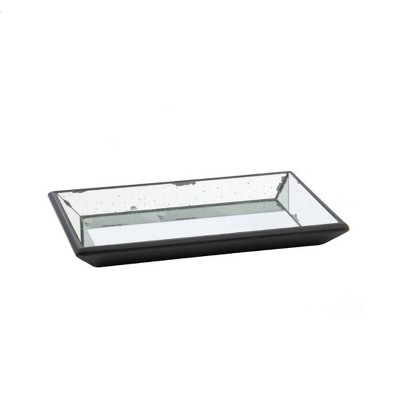 Vintage Finish Mirrored Glass Tray - 13x19.5