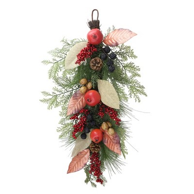 """Northlight 30"""" Autumn Harvest Mixed Berry and Pine Needle Artificial Teardrop Swag - Unlit"""