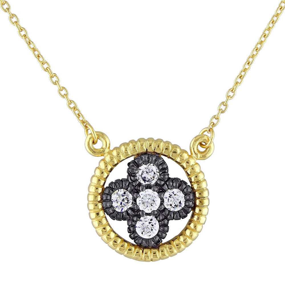 Image of 0.9 CT. T.W. Cubic Zirconia Pendant Necklace in Yellow and Black Rhodium Plated Sterling Silver - Gold/White, Women's, Gold White