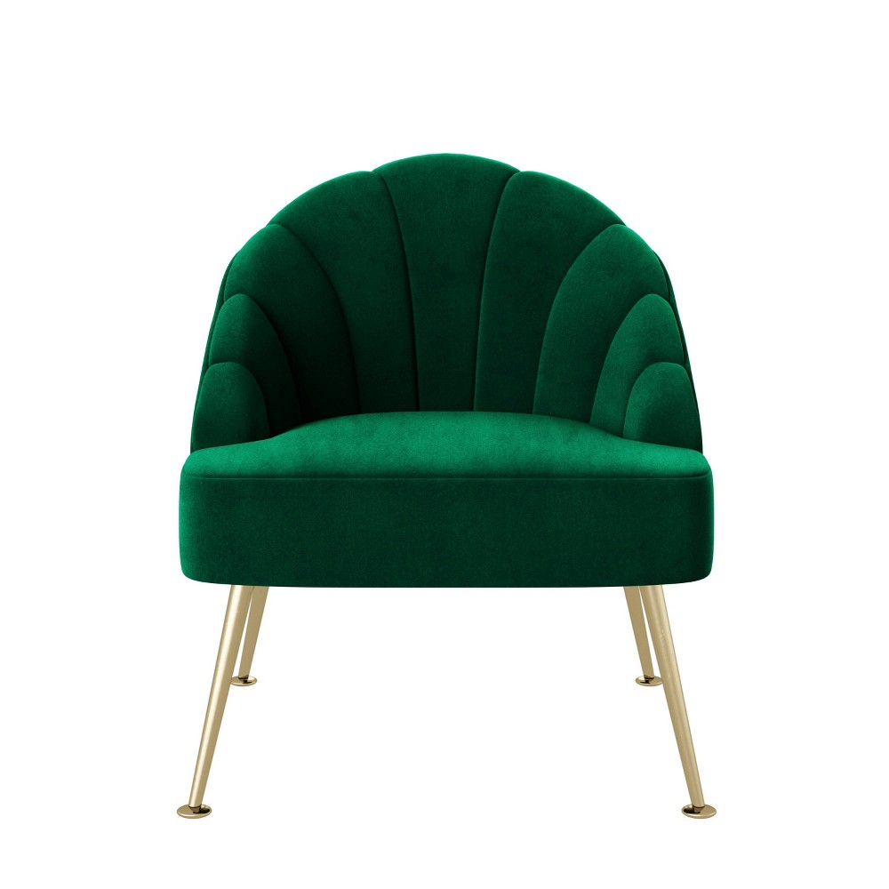 Jemi Modern Channel Tufted Shell Chair Emerald Green Handy Living