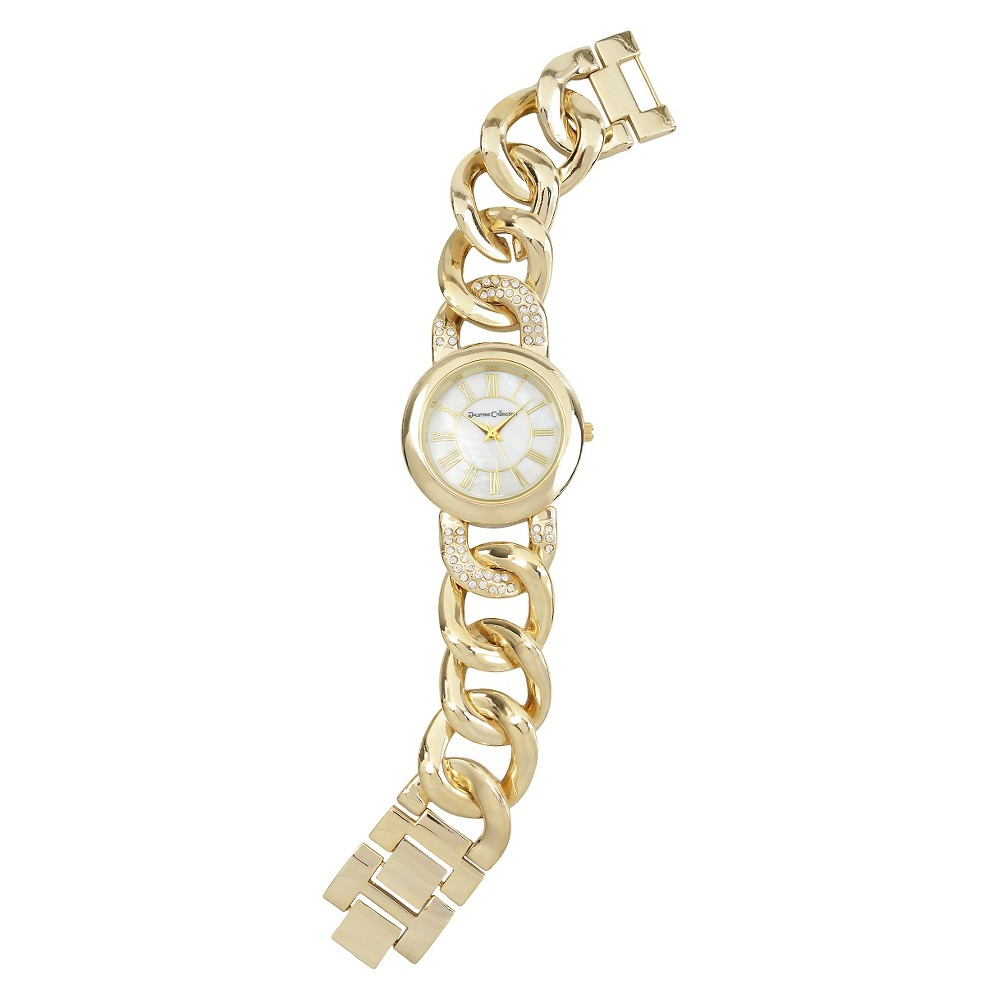 Women's Journee Collection Rhinestone Accented Round Face Roman Numeral Chain Link Watch - Gold