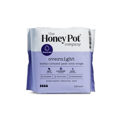 The Honey Pot Overnight Herbal Menstrual Pads - 12ct