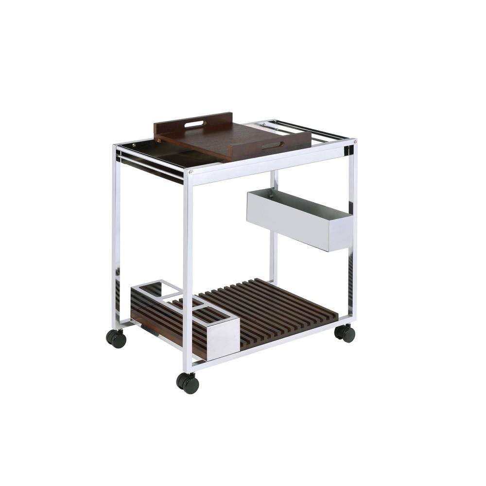 Lisses Serving Cart Chrome - Acme Furniture Lisses Serving Cart Chrome - Acme Furniture