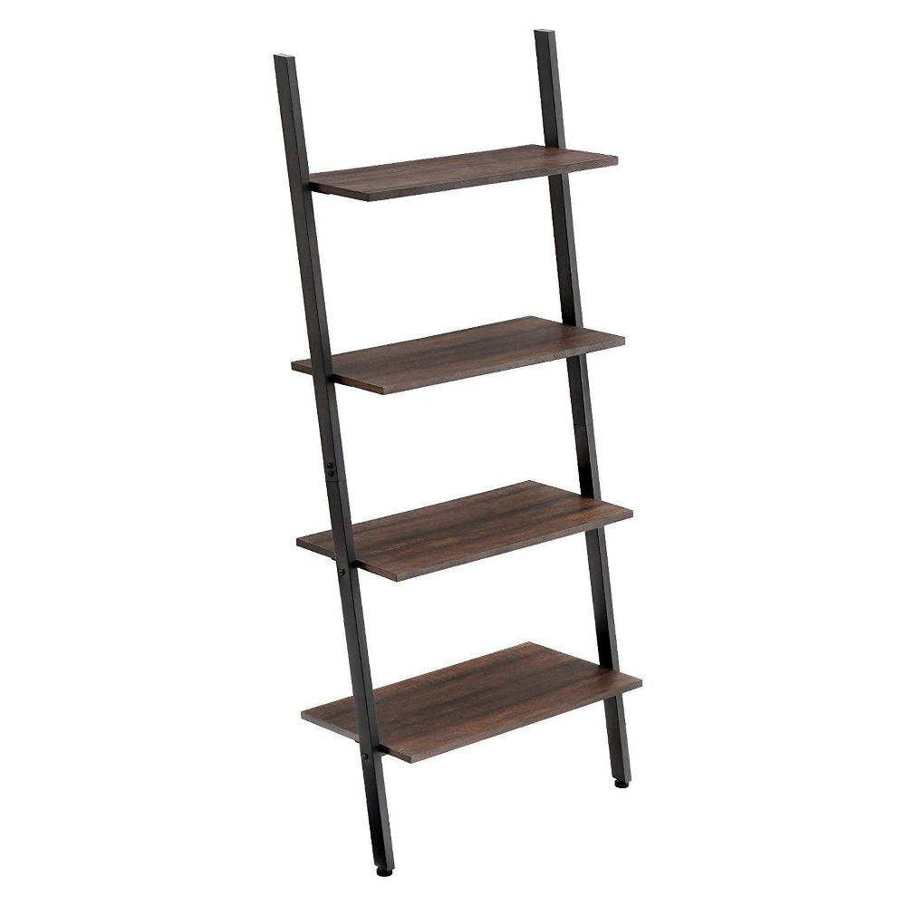 Image of Iron Bookcase with 4 Tier Wooden Shelves Brown - Benzara