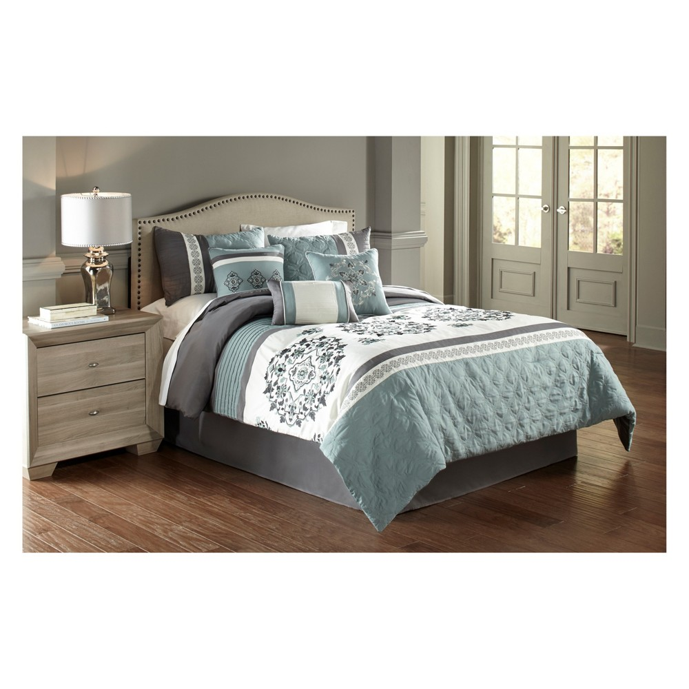 Image of 7pc King Alex Comforter Set Blue & Gray - Riverbrook Home