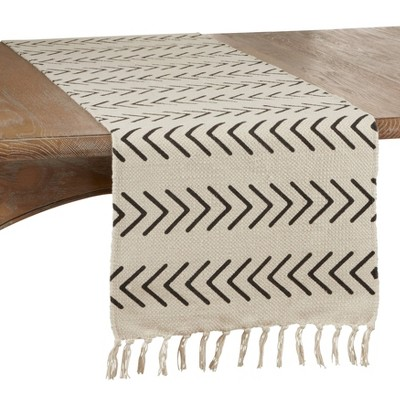 "72"" x 16"" Cotton Chevron Dining Table Runner Beige - Saro Lifestyle"