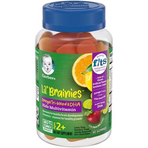 Gerber Lil' Brainies Omega Tri-Blend & DHA Kids Multivitamin Gummies - 60ct - image 1 of 4