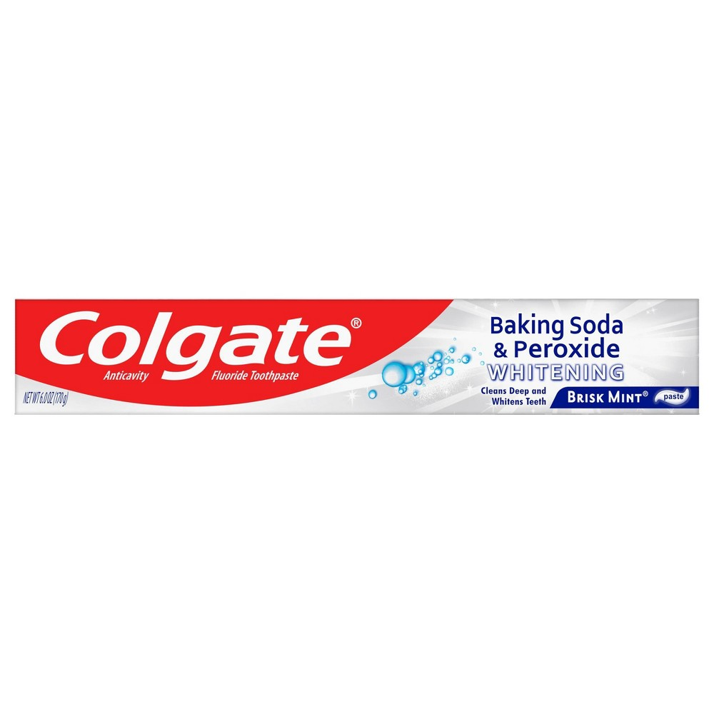 Colgate Baking Soda and Peroxide Whitening Brisk Mint Toothpaste refreshes and cleans for whiter teeth. This toothpaste cleans deep, preventing cavities and the build-up of tartar. This unique formula releases pure oxygen bubbles every time you brush for a clean, fresh sensation. This baking soda and peroxide toothpaste has a brisk mint flavor that freshens breath. Gender: unisex. Age Group: adult.