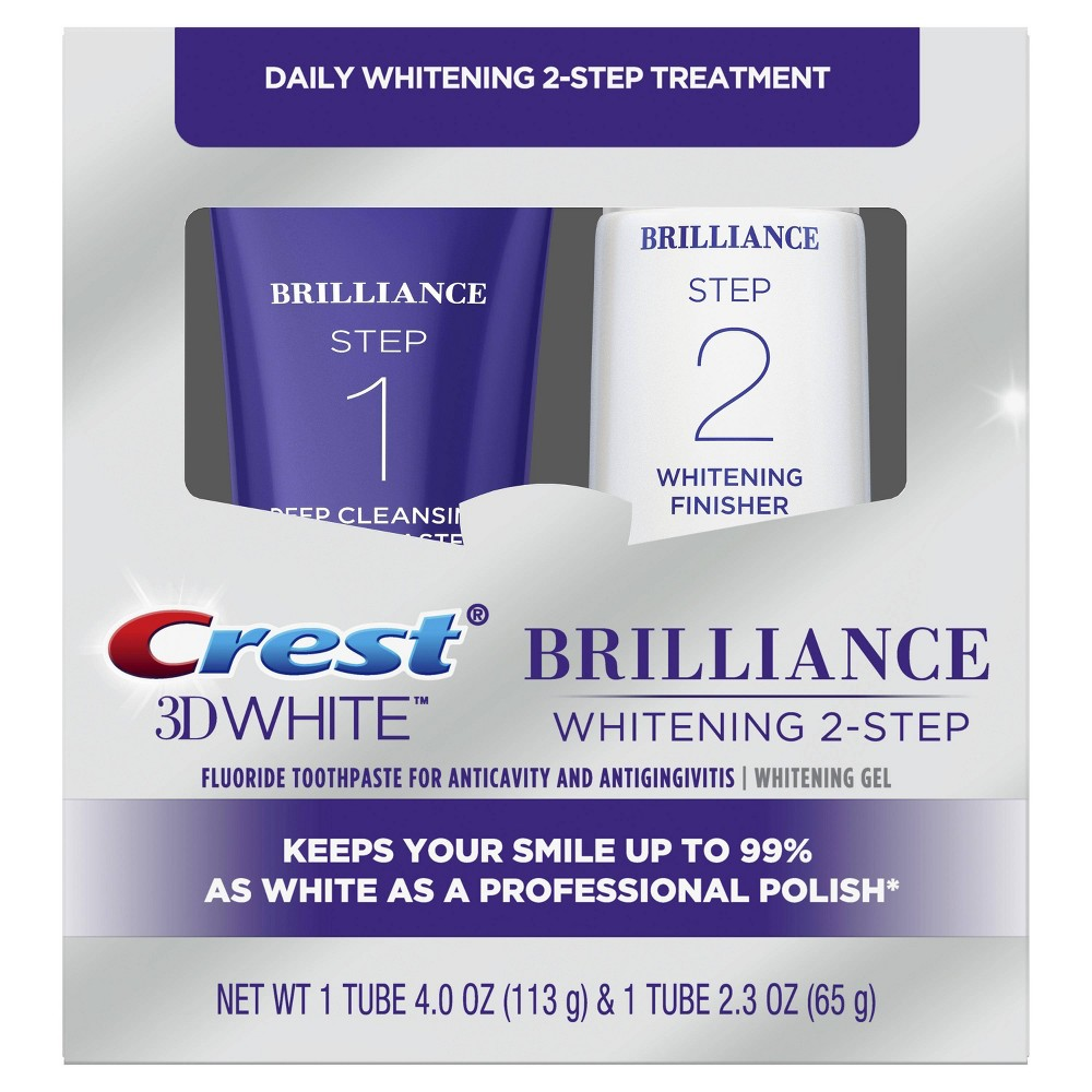 Image of Crest 3D White Brilliance 2 Step Premium Toothpaste and Whitening Gel System - 2 Tubes 4.0oz and 2.3oz