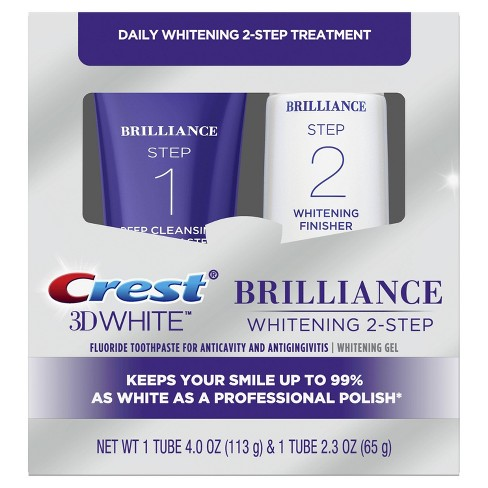 Crest 3D White Brilliance 2 Step Premium Toothpaste and Whitening Gel System - 2 Tubes 4.0oz and 2.3oz - image 1 of 4