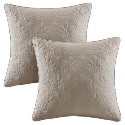 Khaki Vancouver Microfiber Quilted Throw Pillow Pair (20 x20 )