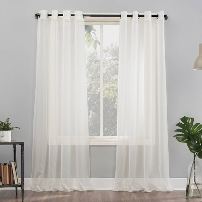 """84""""x59"""" Emily Sheer Voile Grommet Top Curtain Panel Off White - No. 918"""
