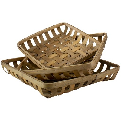 """Raz Imports Set of 3 Brown Square Woven Baskets 22.75"""""""