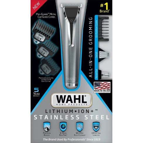 Wahl Stainless Steel Lithium Ion Men S Multi Purpose Beard Facial Trimmer And Total Body Groomer 9818 5001 Target