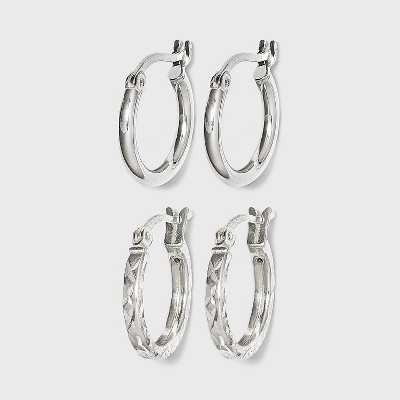 Women's Sterling Silver Tube and Square Cut Hoop Earring Set 2pc - A New Day™ Silver