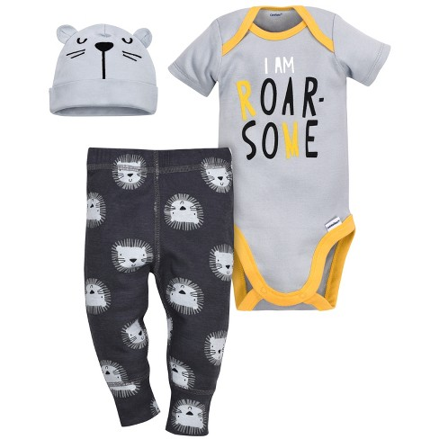 Gerber® Baby Boys' 3pc Tiger Bodysuit, Cap and Pant Set - Gray - image 1 of 3