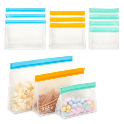 Juvale 10 Pack Reusable Zipper Bags for Organizing, Food Storage, Snacks (3 Sizes)