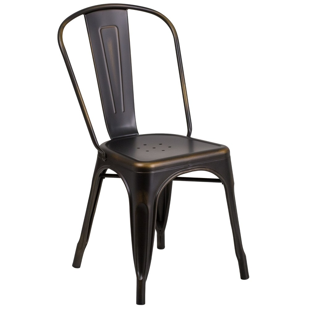 Riverstone Furniture Collection Distressed Copper (Brown) Metal Chair Copper