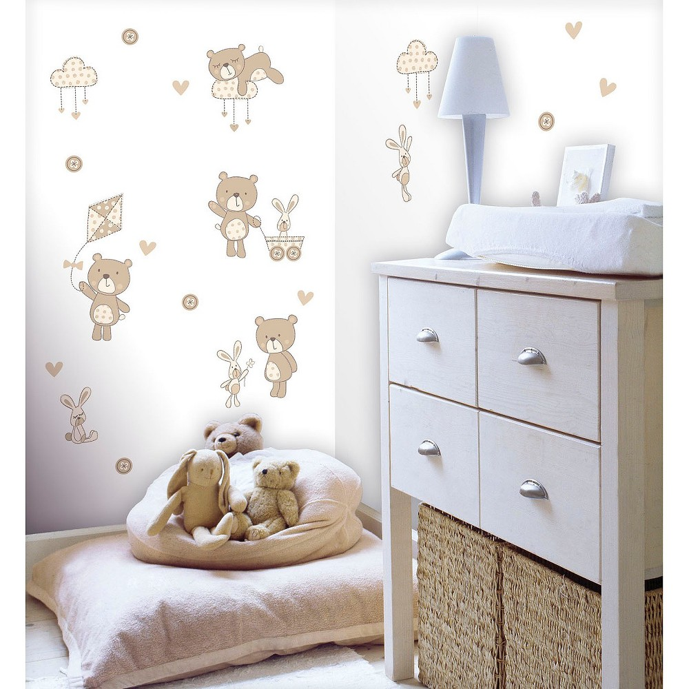 Fun4Walls Bear and Boo Wall Stickers Set of 2 - Tan