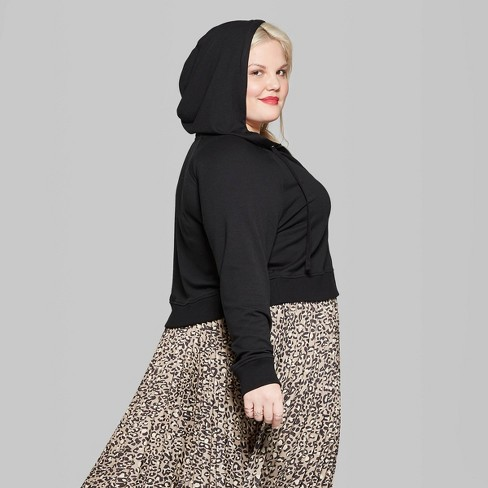 48902aa85d0b3 Women s Plus Size Butter French Terry Zip-Up Hoodie - Wild Fable™ Black    Target