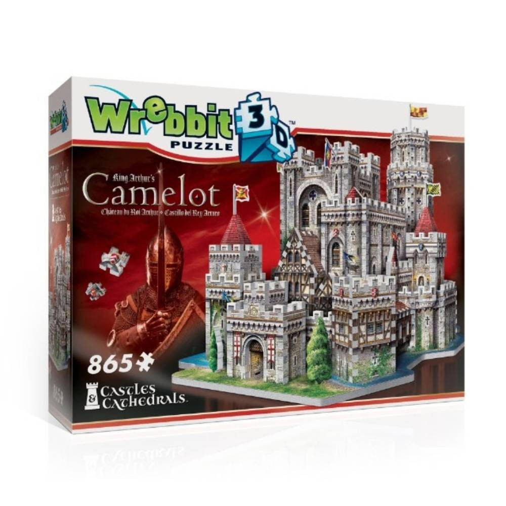 Wrebbit King Arthur's Camelot 3D Puzzle 865pc The home of King Arthur and his legendary 'Knights of the Round Table' is the epicenter of fantastic tales and myths. Strengthen the walls of your own Camelot to house Merlin and Sir Lancelot, imagine Knights riding across misty hills to find and pull Excalibur from the stone or return the Grail from conquest to a lofty turret. This 865-piece Camelot 3D puzzle is a must for all medieval times lovers and fans of epic legends. Camelot's assembled dimensions: 16.5 L x 12.75  W x 13.75  H. Wrebbit3D puzzles have snug and tight fitting pieces that are easy to handle. They are the sturdiest 3D puzzles on the market with the highest quality of design and illustration. Made in Canada. Gender: Unisex.