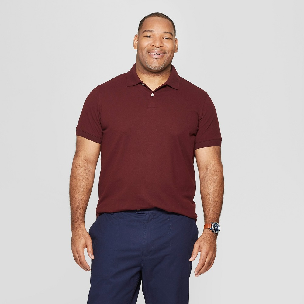 Men's Tall Standard Fit Short Sleeve Pique Loring Polo Shirt - Goodfellow & Co Pomegranate Mystery Xlt