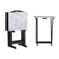 Faux Marble Tray Table Set - Linon