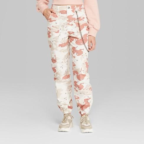 3fb3118634c27f Women's Cargo Print High-Rise Desert Pants - Wild Fable™ White : Target