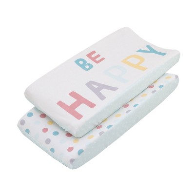 """NoJo Little Love """"Be Happy"""" Multi Color Polka Dots Super Soft Changing Pad Covers - 2pc"""