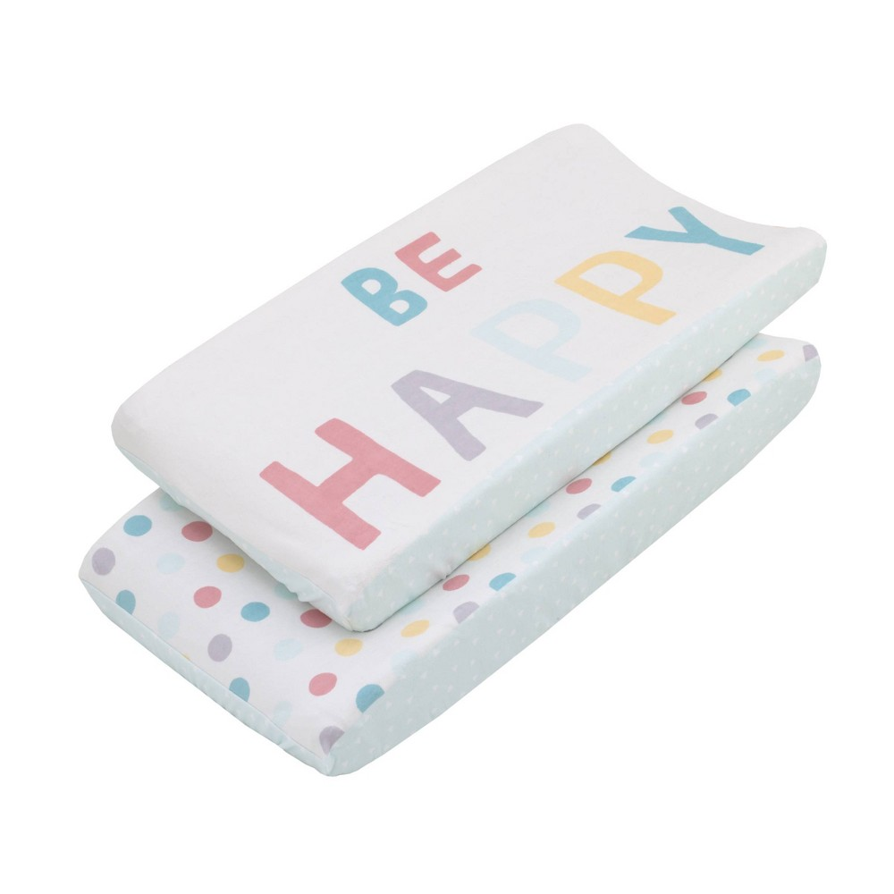 """Image of """"NoJo Little Love """"""""Be Happy"""""""" Multi Color Polka Dots Super Soft Changing Pad Covers - 2pc"""""""