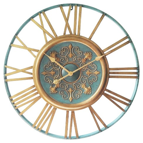 Vintage Parisian Wall Clock Turquoise/Gold - Infinity Instruments® - image 1 of 2