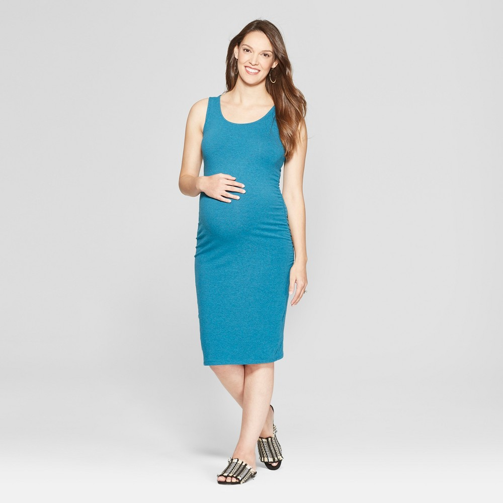 Maternity Shirred Tank Dress - Isabel Maternity by Ingrid & Isabel Teal Heather Xxl, Women's