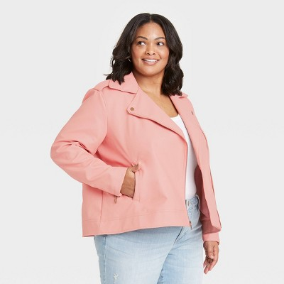 Women's Zipper Moto Jacket - Universal Thread™ Pink